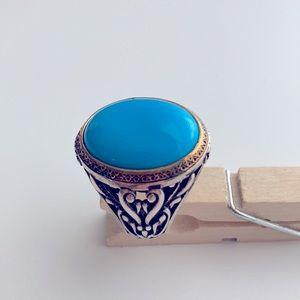 Ottasilver Blue Turquoise Stone Men Ring Size 10